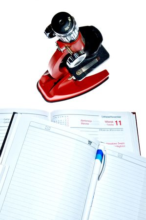 geneticist: Microscope and notes Stock Photo
