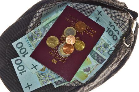mendicant: Money and passport in cap Stock Photo