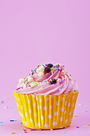 Sweet cupcake with sprinkles and chocolate balls isolated on a pink background