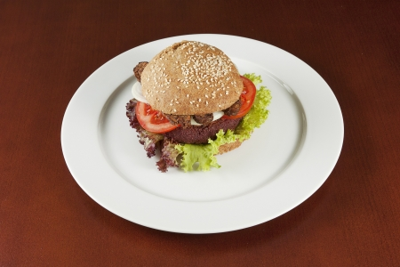 vegetarian hamburger: Healthy vegetarian hamburger Stock Photo
