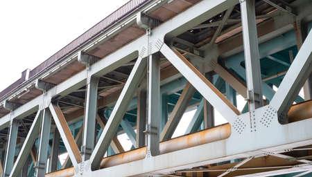 metal bridge structure over the river