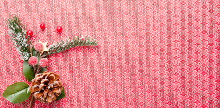Christmas decoration on a red background