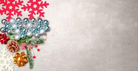 Christmas ornament on snowflakes on grunge