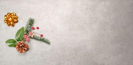 Christmas decoration on winter background