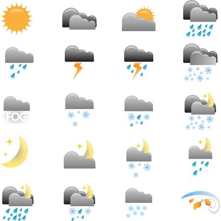 iconos del clima: Iconos del tiempo en diferentes condiciones clim�ticas.
