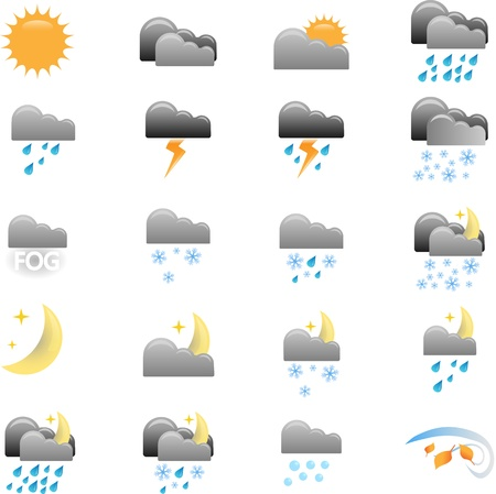 Weather Icons for different weather conditions. Vector