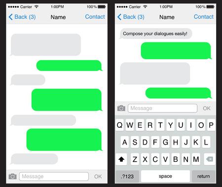 スマート フォンの sms テンプレート泡をチャット  イラスト・ベクター素材