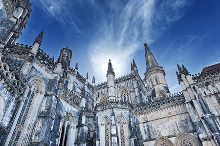 portugal: Famous monastery in Portugal. Batalha and monastery were founded by King D. Jo?o I of Portugal to pay homage to the Portuguese victory at the Battle of Aljubarrota. Stock Photo