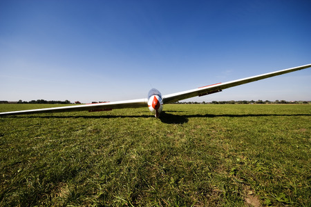 airfield: Front view of a glider on grass airfield