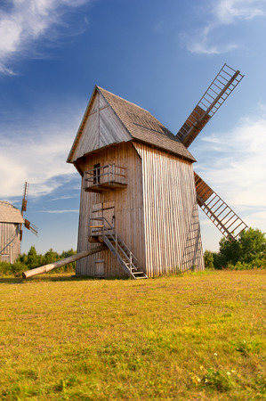 wideview: Old wooden windmill
