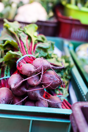 growers: Bunch of beetroots at a local growers market.