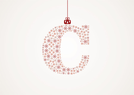 Alphabet from snowflakes, letters C, vector Vector