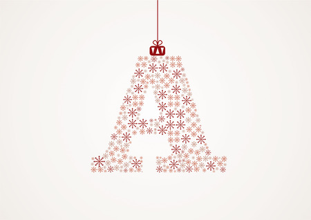 Alphabet from snowflakes, letters A, vector Vector
