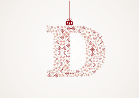 Alphabet from snowflakes, letters D, vector Vector
