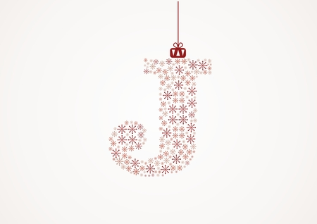 Alphabet letter J  Christmas and New Year  Snowflakes  Flakes