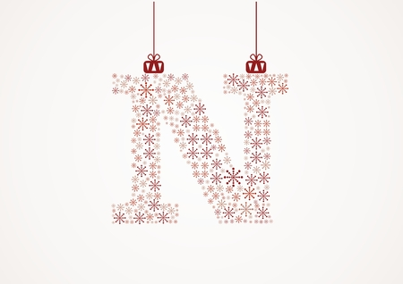Alphabet letter N  Christmas and New Year  Snowflakes  Flakes Illustration