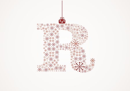 Alphabet letter R  Christmas and New Year  Snowflakes  Flakes