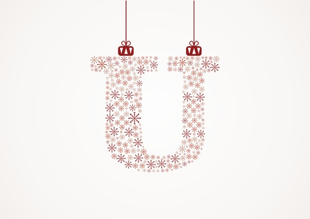 Alphabet letter U  Christmas and New Year  Snowflakes  Flakes