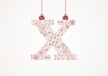 alhabet: Alphabet letter X  Christmas and New Year  Snowflakes  Flakes