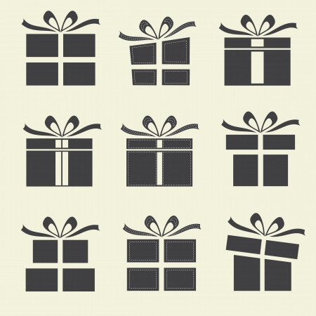 Gift boxes - 9 icons  silhouettes of gift boxes   Illustration