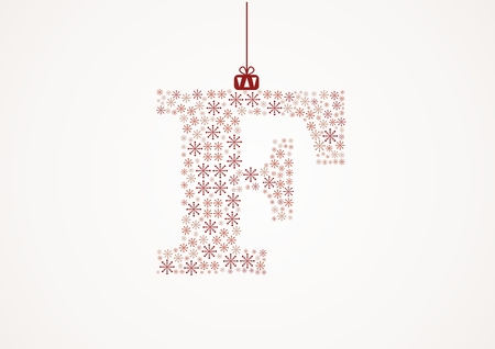 Alphabet letter F  Christmas and New Year  Snowflakes  Flakes