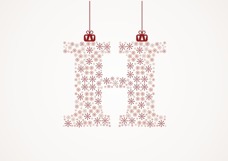 Alphabet letter H  Christmas and New Year  Snowflakes  Flakes