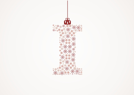 Alphabet letter I  Christmas and New Year  Snowflakes  Flakes