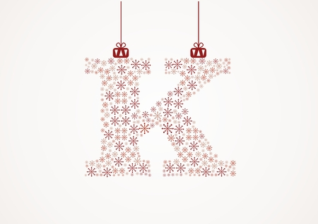 Alphabet letter K  Christmas and New Year  Snowflakes  Flakes