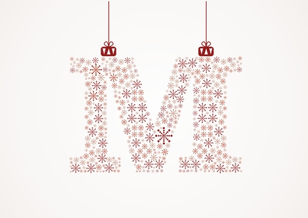 Alphabet letter M  Christmas and New Year  Snowflakes  Flakes Illustration