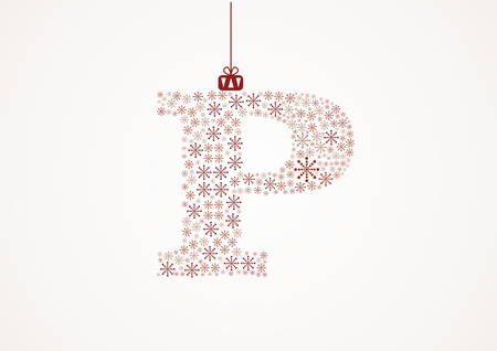 Alphabet letter P  Christmas and New Year  Snowflakes  Flakes