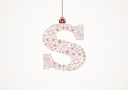 Alphabet letter S  Christmas and New Year  Snowflakes  Flakes Vector