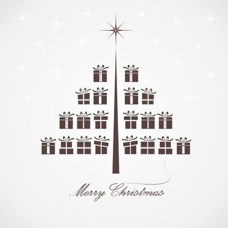 stylized design: Disegno stilizzato albero di Natale con i regali Vettoriali