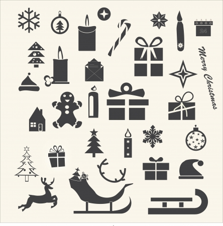 Christmas and Winter icons collection - vector silhouette Vector