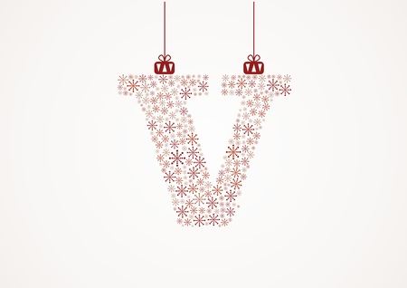 Alphabet letter V  Christmas and New Year  Snowflakes  Flakes