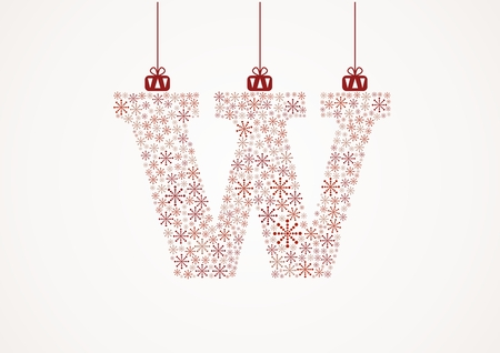 Alphabet letter W  Christmas and New Year  Snowflakes  Flakes Illustration