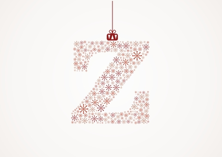 Alphabet letter Z  Christmas and New Year  Snowflakes  Flakes Illustration