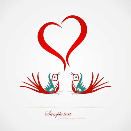 Love bird in the air- Valentine Vector