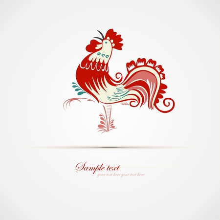 chirp: Isolated red blue cock walking with mouth open  Vector illustration  Cartoon images