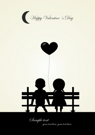 silhouette of boy and girl sitting on a bench, vector  Vector