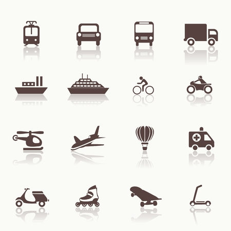 Transportation icons design elements. Vector illustration. Simple icon. Mirror Vector