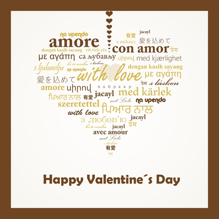 Vector concept of words with love in many languages forming a heart shape. Vector