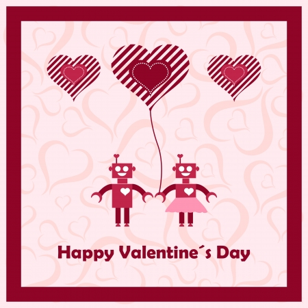 Happy valentines day with loving robots. Vector illustration. Vector