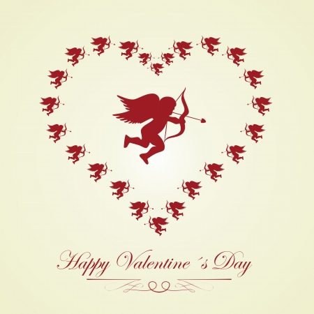 silueta: happy Valentines day - greeting card. Vector. Illustration.