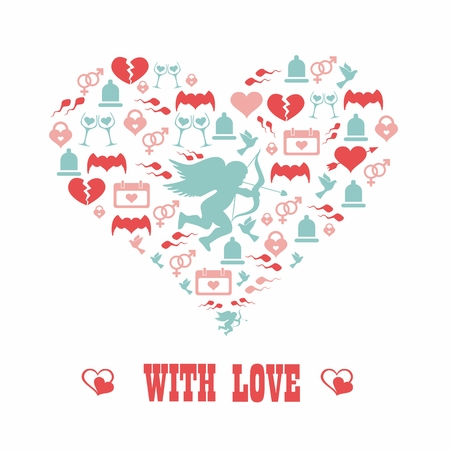heart symbol of love. With love. Romantic concept. Vector. Illustration. Vector