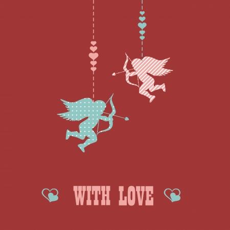 siluetas: happy Valentines day - greeting card. Vector. Illustration.