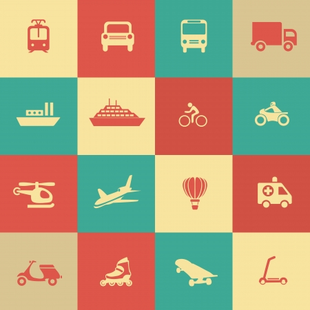 Retro transportation icons design elements.  Vector illustration. Simple icon. Vector