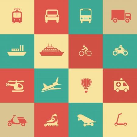 Retro transportation icons design elements.  Vector illustration. Simple icon. Vector