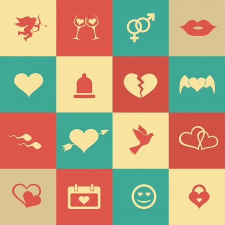Set retro valentine's day icons, love on the Internet symbols. Vector. Vector