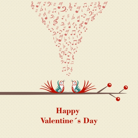 flirting: Happy Valentines Day. Two birds flirting and singing on branch. Illustration. Illustration