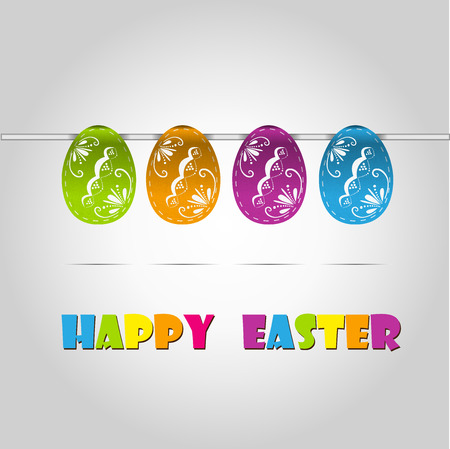 Happy easter cards illustration retro vintage with easter egg  and fonts  Vector  Vector